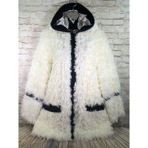 Adrienne Landau hooded faux sheep fur coat women L